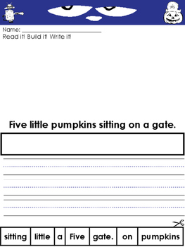 Pete the Cat Five Little Pumpkins Writing Prompts and Worksheets