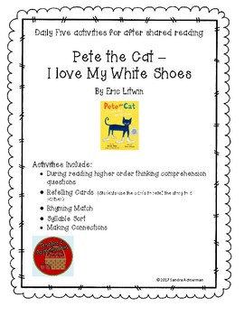 Pete the Cat - I Love My White Shoes by Eric Litwin  Shared Reading Daily Five
