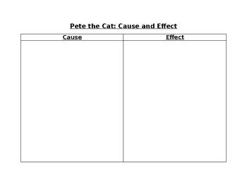 Pete the Cat: I Love my White Shoes cause and effect Graphic organizer