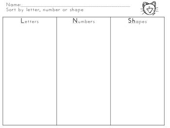 The Groovy Cat--Number, Letter, Shape Pocket Chart Sort