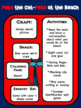 Pete the Cat Pete at the Beach Learning Pack