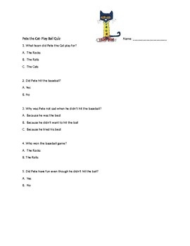 Pete the Cat- Play Ball! Quiz