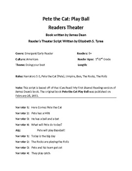 Pete the Cat Play Ball - Readers Theater