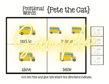 Pete the Cat, Positional Words, Requires Scissors and Glue