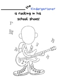 Pete the Cat Rocking in My School Shoes coloring page (Kindergarten, First day)