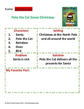 Pete the Cat Saves Christmas Graphic Organizer