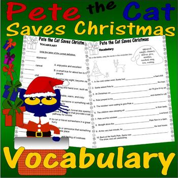Pete the Cat Saves Christmas : Vocabulary Match-Up Worksheet