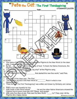 Pete the Cat The First Thanksgiving Activities Dean Crossword and Word Searches