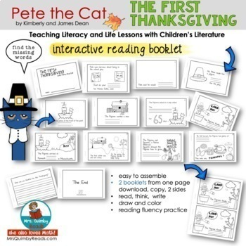 Pete the Cat | The First Thanksgiving | Book Companion | Reader Response Pages