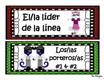 Pete the Cat Themed Classroom Jobs Spanish