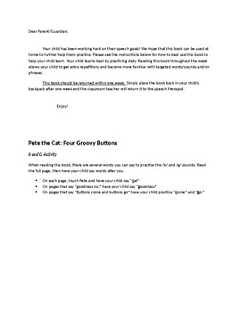 Pete the Cat and His 4 Groovy Buttons Speech & Fluency Activities