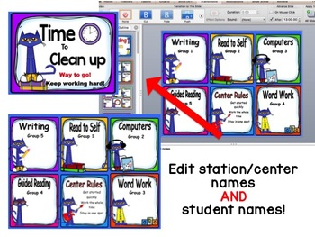 Pete the Cat themed Reading Center Rotations Editable Powerpoint