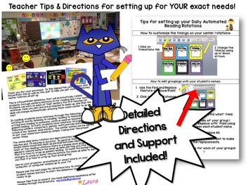 Groovy Blue Cat Reading Centers Rotations Editable Powerpoint