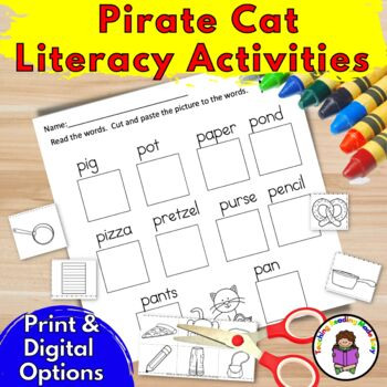 Pete the Cat inspired Literacy Pirate Activities