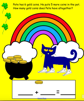 Pete the Cat St. Patrick's Day Addition and Subtraction for the Smart Board