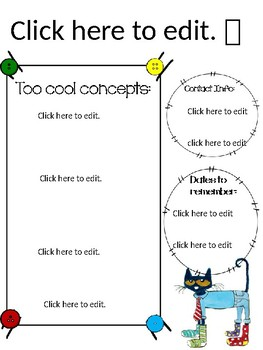 Pete the cat simple button editable newsletter