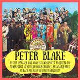 Peter Blake artist research and analysis worksheet