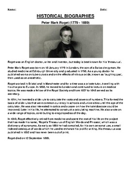 Peter Mark Roget  Biography Article and (3) Assignments