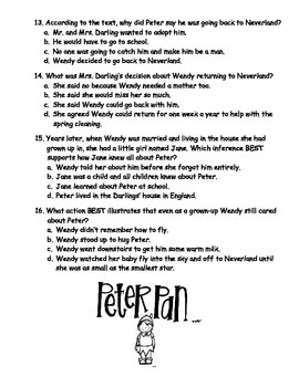 Peter Pan Comprehension Quiz (Chapters 14-17)