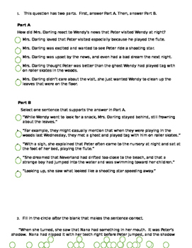 Peter Pan text dependent questions