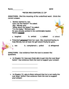 Peter Pan Chapters 11-13 QUIZ