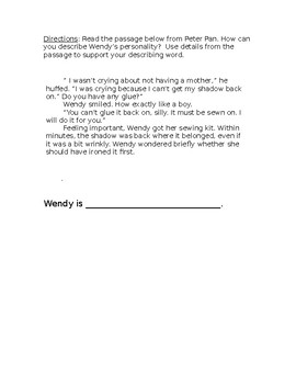 Peter Pan Character Description worksheet