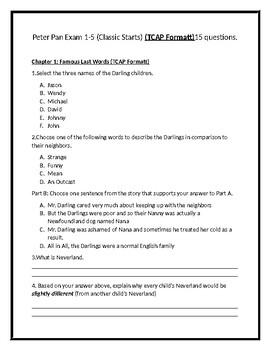 Peter Pan Classic Starts Exam (TCAP Formatt) Chapters 1-5 Grade 3