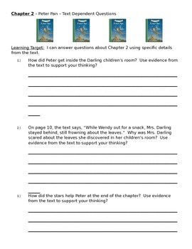 Peter Pan Common Core / Unit 1 Worksheets Chapters 1-9 (Engage New York)