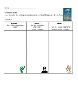 Peter Pan Common Core / Unit 1 Worksheets Chapters 1-9 (En