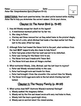 Peter Pan Comprehension Quiz (Chapters 10-13)