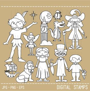 Peter Pan Digital Stamp - Clipart & Vector Set - Black Line