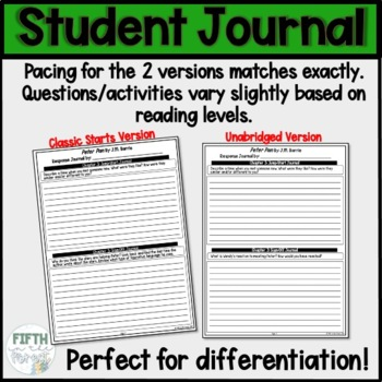 Peter Pan Novel Student Journal