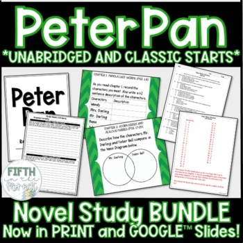 Peter Pan Novel Study BUNDLE (discussion guide, journal, and unit test included)