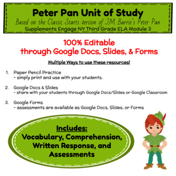Peter Pan Unit of Study - Engage NY Third Grade Module 3 - Google Resources