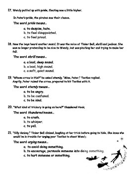 Peter Pan Vocabulary Quiz (Lessons 6-9)