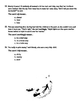 Peter Pan Vocabulary Quiz (Lessons 1-5)