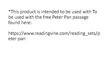 Peter Pan Vocabulary and Inference set- with reading comp passage