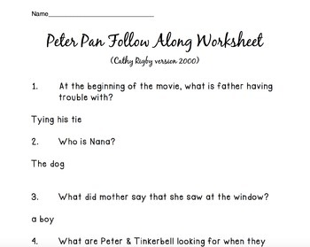 Peter Pan follow along movie sheet--2000 Cathy Rigby
