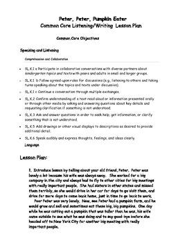 Peter Peter Pumpkin Eater Listening Speaking Writing Activity w C. Core Plan