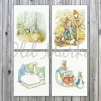 Peter Rabbit - Beatrix Potter - Printable Wall Art - Includes 4 Images