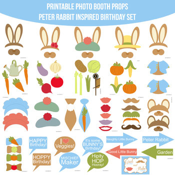 Peter Rabbit Inspired Birthday Printable Photo Booth Prop Set Tpt