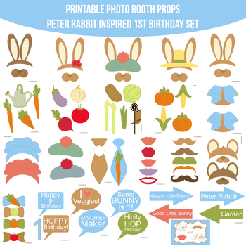 picture regarding Printable Photo Booth Props Birthday known as Peter Rabbit Influenced Initially Birthday Printable Photograph Booth Prop Fixed