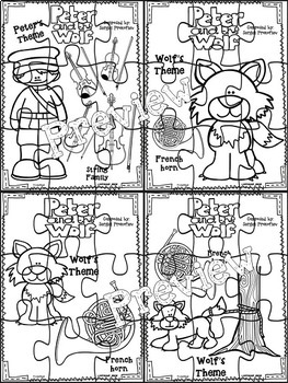 Peter and the Wolf Character-Themed Puzzles (Black & White)