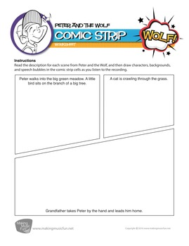 Peter and the Wolf | Comic Strip Worksheet and Lesson Plan (Digital Print)