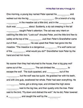 Peter and the Wolf FunLibs™ | Story and Worksheet (Digital Print)