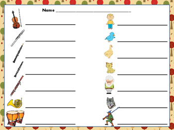"Peter and the Wolf--Instrument/Character Matching ""Write the Room"" Activity"