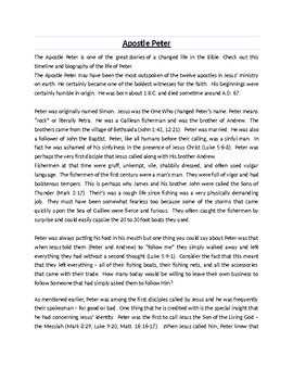 Peter the Apostle Biography Article and Assignment