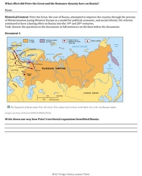DBQ: Peter the Great, the Romanovs & Russia Common Core State Standards (CCSS)