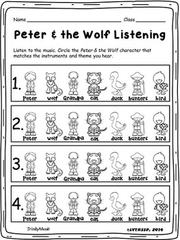 Music Appreciation: Peter and the Wolf Music Listening Worksheets ...