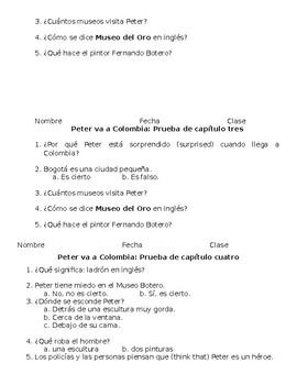 """Peter va a Colombia"" (C. Dexemple) Quick Comprehension Quizzes"